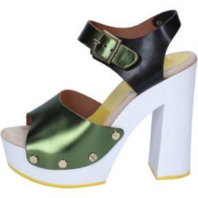Γόβες Suky Brand sandali verde nero pelle BS18