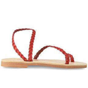 Δερμάτινο κόκκινο σανδάλι με κοτσίδα Iris Sandals IR4/47