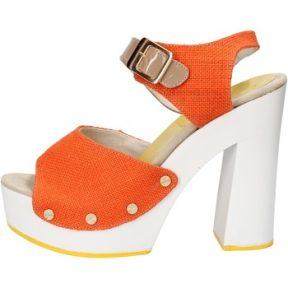 Σανδάλια Suky Brand sandali arancione tessuto beige vernice AC803