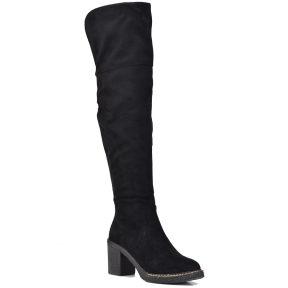 Μαύρη μπότα πάνω απο το γόνατο Lets Walk JN77-16
