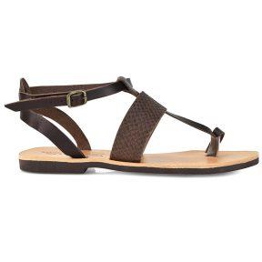 Δερμάτινο καφέ κροκό σανδάλι Tsakiris Sandals TS608