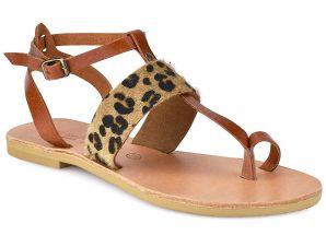 Δερμάτινο animal print σανδάλι Tsakiris Sandals TS608